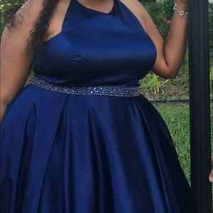 Sherri Hill Navy blue halter ball gown.